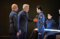 ENDER'S GAME, from left: Ben Kingsley, Harrison Ford, Asa Butterfield, Aramis Knight, 2013. ph: Richard Foreman/©Summit Entertainment