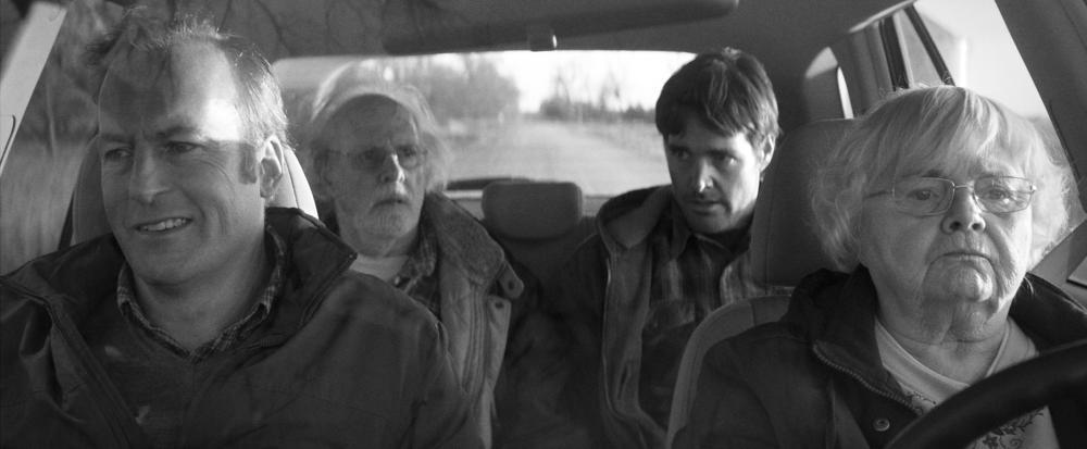NEBRASKA, from left: Bob Odenkirk, Bruce Dern, Will Forte, June Squibb, 2013. ©Paramount Pictures