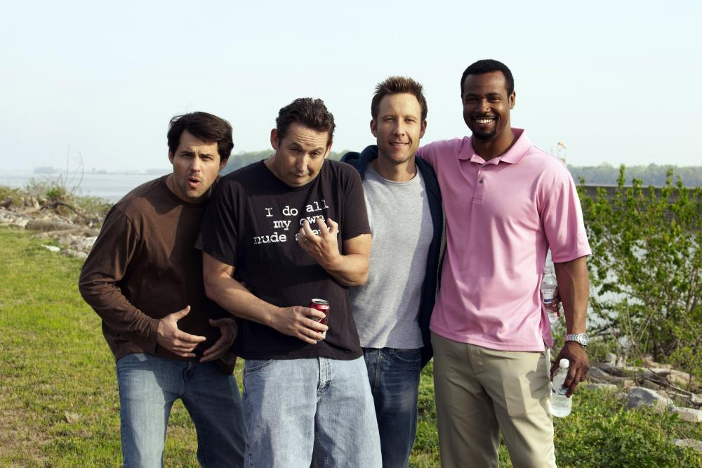 BACK IN THE DAY, from left: Kristoffer Polaha, Harland Williams, Michael Rosenbaum, Isaiah Mustafa, 2014. ©Screen Media Films