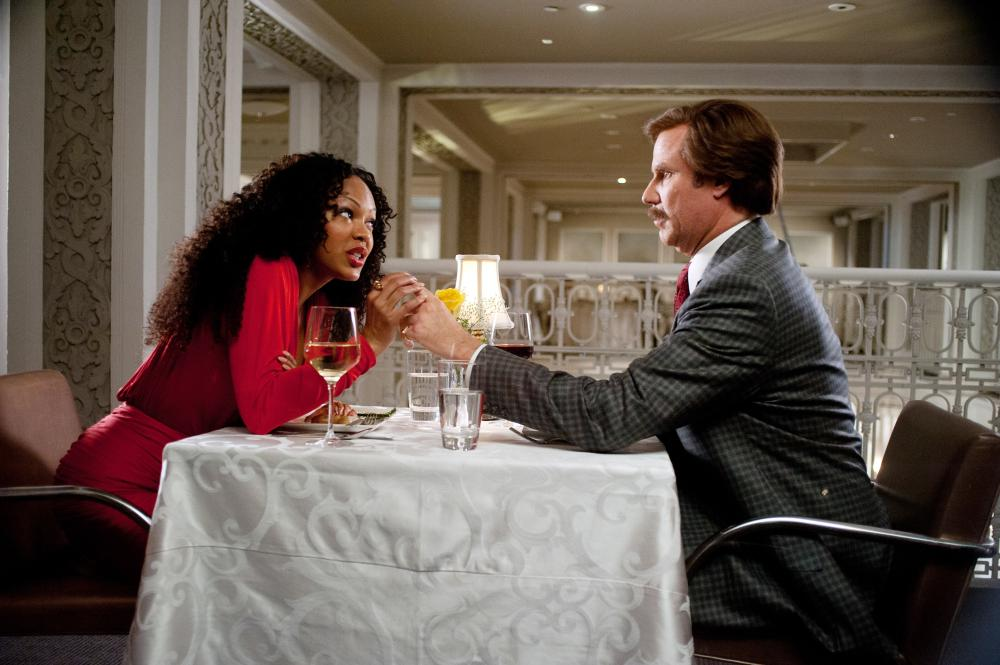 ANCHORMAN 2: THE LEGEND CONTINUES, from left: Meagan Good, Will Ferrell, 2013. ph: Gemma LaMana/©Paramount Pictures