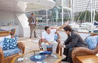 THE WOLF OF WALL STREET, from left: Ted Griffin, Leonardo DiCaprio, Kyle Chandler, 2013. ph: Mary Cybulski/©Paramount Pictures