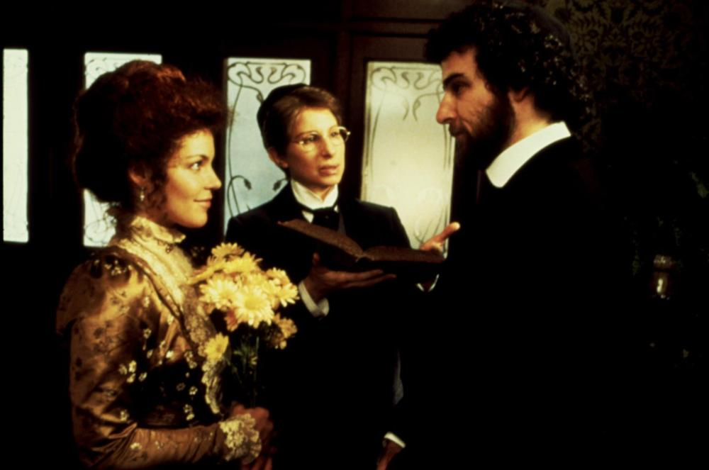 YENTL, Amy Irving, Barbra Streisand, Mandy Patinkin, 1983, courting with flowers