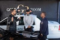 RIDE ALONG, from left: Ice Cube, director Tim Story, Kevin Hart, on set, 2014. ph: Quantrell D. Colbert/©Universal Pictures