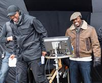RIDE ALONG, from left: director Tim Story, producer William Packer, on set, 2014. ph: Quantrell D. Colbert/©Universal Pictures