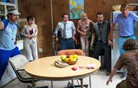 COOTIES, from left: Rainn Wilson, Nasim Pedrad, Elijah Wood, Alison Pill, Leigh Whannell, Jack McBrayer, 2014. ph: ph Tony Rivetti Jr./©Universal Pictures