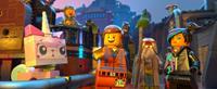 THE LEGO MOVIE, l-r: Unikitty (voice: Alison Brie), Benny (voice: Charlie Day), Emmet (voice: Chris Pratt), Batman (voice: Will Arnett), Vitruvius (voice: Morgan Freeman), Wyldstyle (voice: Elizabeth Banks), 2014, ©Warner Bros. Pictures