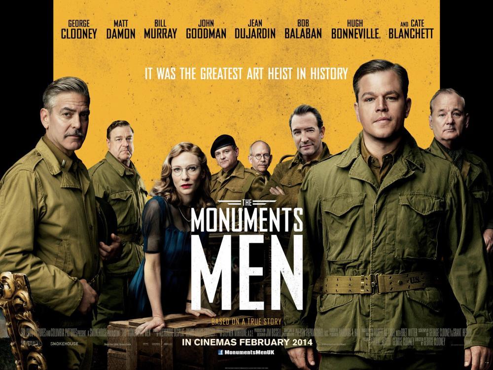 THE MONUMENTS MEN, British poster art, from left: George Clooney, John Goodman, Cate Blanchett, Hugh Bonneville, Bob Balaban, Jean Dujardin, Matt Damon, Bill Murray, 2014. ©Sony Pictures Releasing