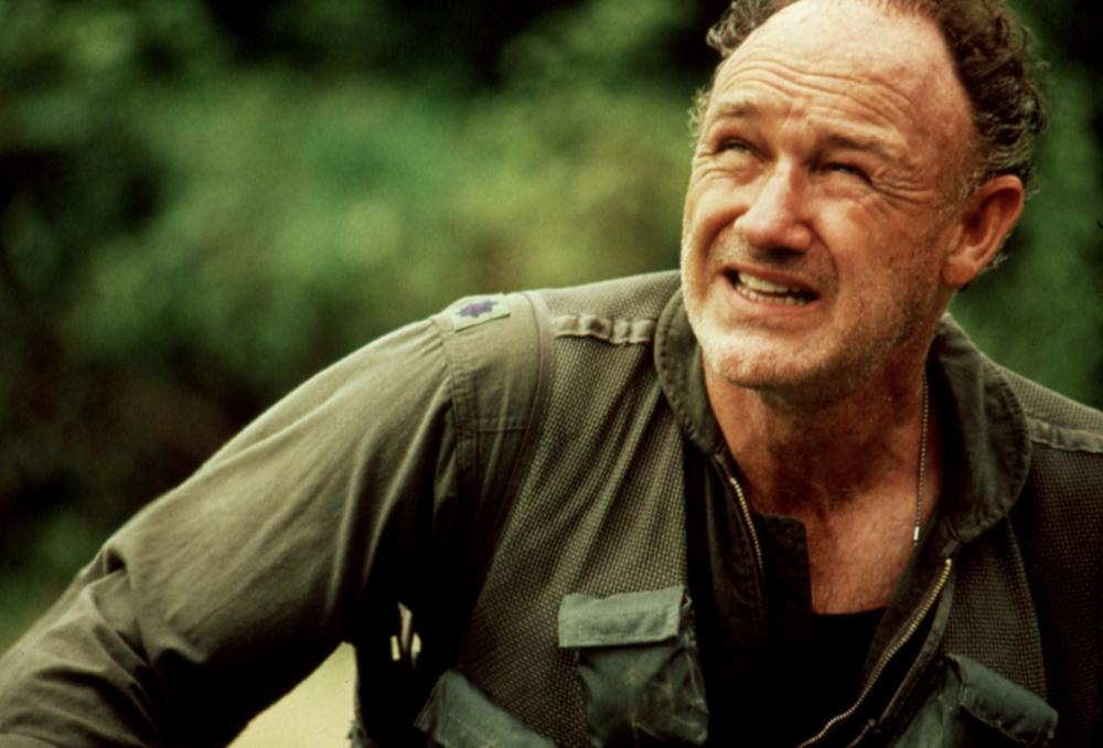 BAT 21, Gene Hackman,  1988, looking up fearfully