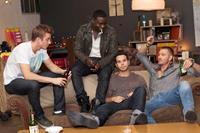 CAVEMEN, from left: Kenny Wormald, Dayo Okeniyi, Skylar Astin, Chad Michael Murray, 2013. ©Well Go USA