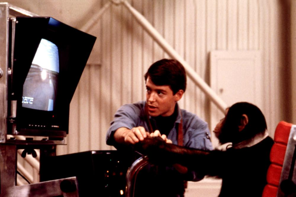 PROJECT X, Matthew Broderick  teaching chimp to use computer, 1987