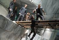 DIVERGENT, front, from left: Miles Teller, Shailene Woodley, Ben Lamb, Zoe Kravitz, Jai Courtney, 2014. ph: Jaap Buitendijk/©Summit Entertainment