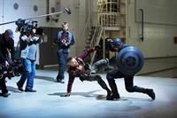 CAPTAIN AMERICA: THE WINTER SOLDIER, from left: Georges St-Pierre, Chris Evans, on set, 2014. ph: Zade Rosenthal/©Walt Disney Studios Motion Pictures