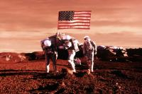 MISSION TO MARS, Connie Nielsen, Gary Sinise, Jerry O'Connell, 2000, raising the flag on Mars