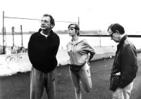 HUSBANDS AND WIVES, Sydney Pollack, Lysette Anthony, Woody Allen, 1992, on location between scenes