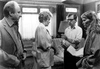 SEPTEMBER, Jack Warden, Elaine Stritch, Woody Allen, Mia Farrow, 1987, rehearsal on set