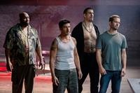 BRICK MANSIONS, from left: Goûchy Boy, David Belle, Robert Maillet, Paul Walker, 2014. ph: Philippe Bosse/©Relativity Media