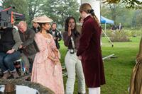 BELLE, l-r: Gugu Mbatha-Raw, director Amma Asante, Sam Reid on set, 2013, ph: David Appleby/TM and Copyright/©Fox Search