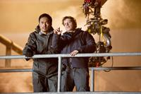 GODZILLA, from left: Ken Watanabe, director Gareth Edwards, on set, 2014. ph: Kimberley French/©Warner Bross. Pictures