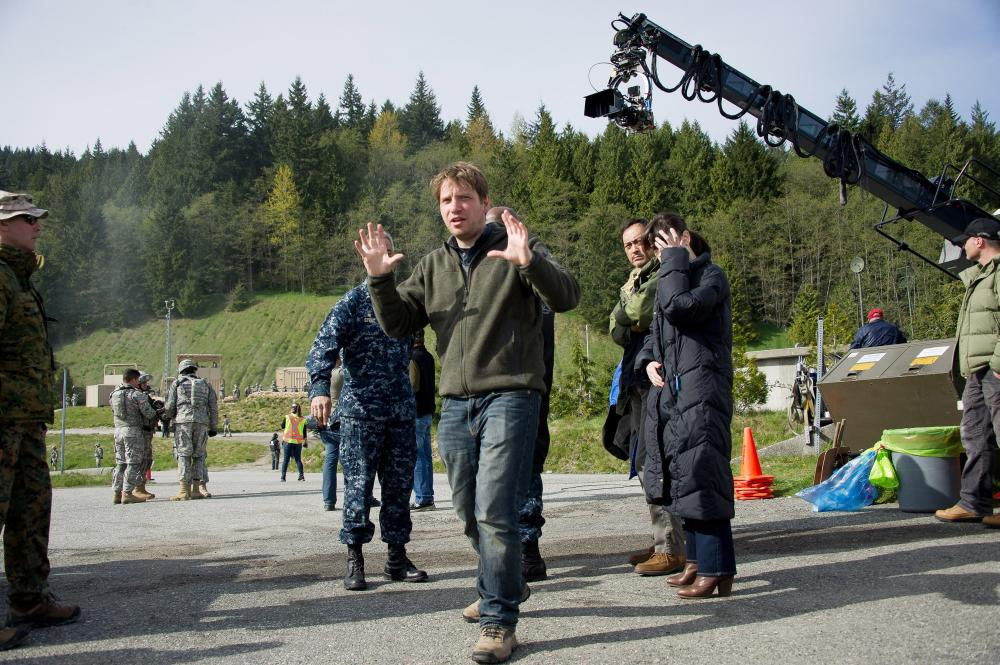 GODZILLA, director Gareth Edwards, on set, 2014. ph: Kimberley French/©Warner Bross. Pictures