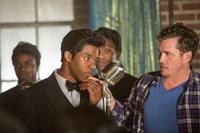GET ON UP, from left: Chadwick Boseman, as James Brown, director Tate Taylor, on set, 2014. ph: D. Stevens/©Universal Pictures
