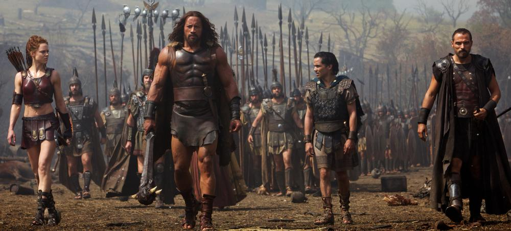 (Front, left to right) Ingrid Berdal is Atalanta, Dwayne Johnson is Hercules, Reece Ritchie is Iolaus and Rufus Sewell is Autolycus in HERCULES from Paramount Pictures and Metro-Goldwyn-Mayer Pictures.