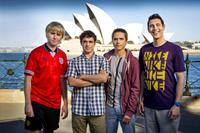 Publicity stills photography on the set of The Inbetweeners 2 movie 'The Long Goodbye'