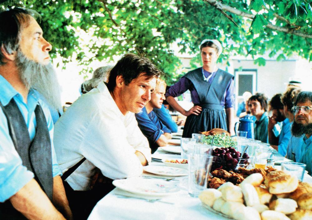 WITNESS, Harrison Ford (white shirt), Kelly McGillis (standing), 1985, © Paramount