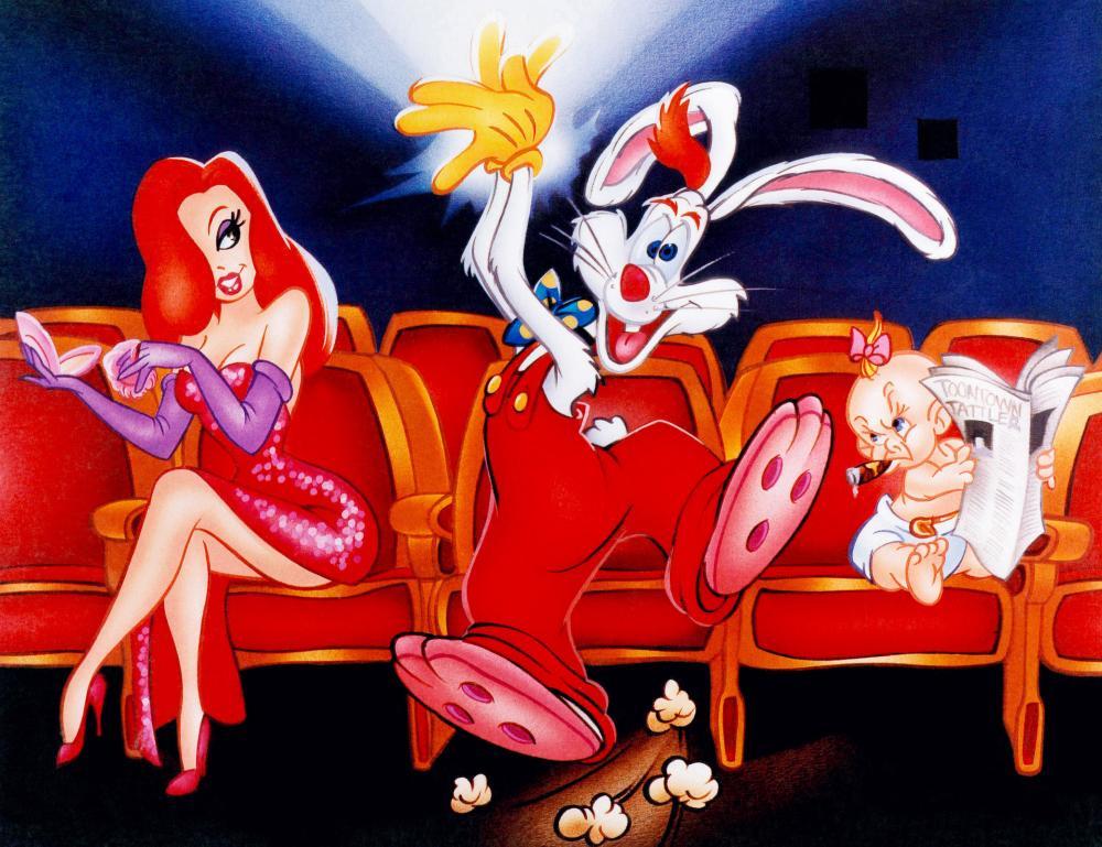 WHO FRAMED ROGER RABBIT, from left: Jessica Rabbit, Roger Rabbit, Baby Herman, 1988, © Buena Vista