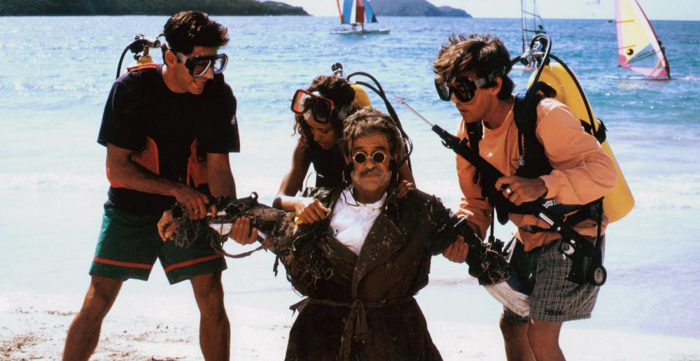 WEEKEND AT BERNIE'S II, Terry Kiser (front), rear left to right: Jonathan Silverman, Troy Beyer, Andrew McCarthy, 1993, © TriStar