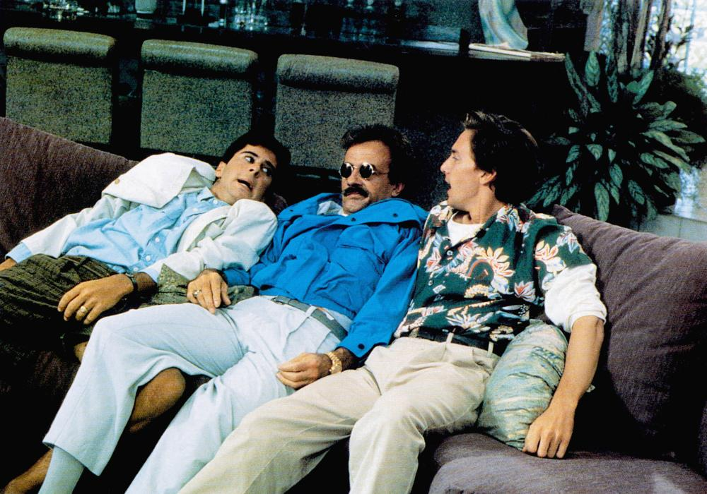 WEEKEND AT BERNIE'S, from left: Jonathan Silverman, Terry Kiser, Andrew McCarthy, 1989, TM & Copyright © 20th Century Fox Film Corp.