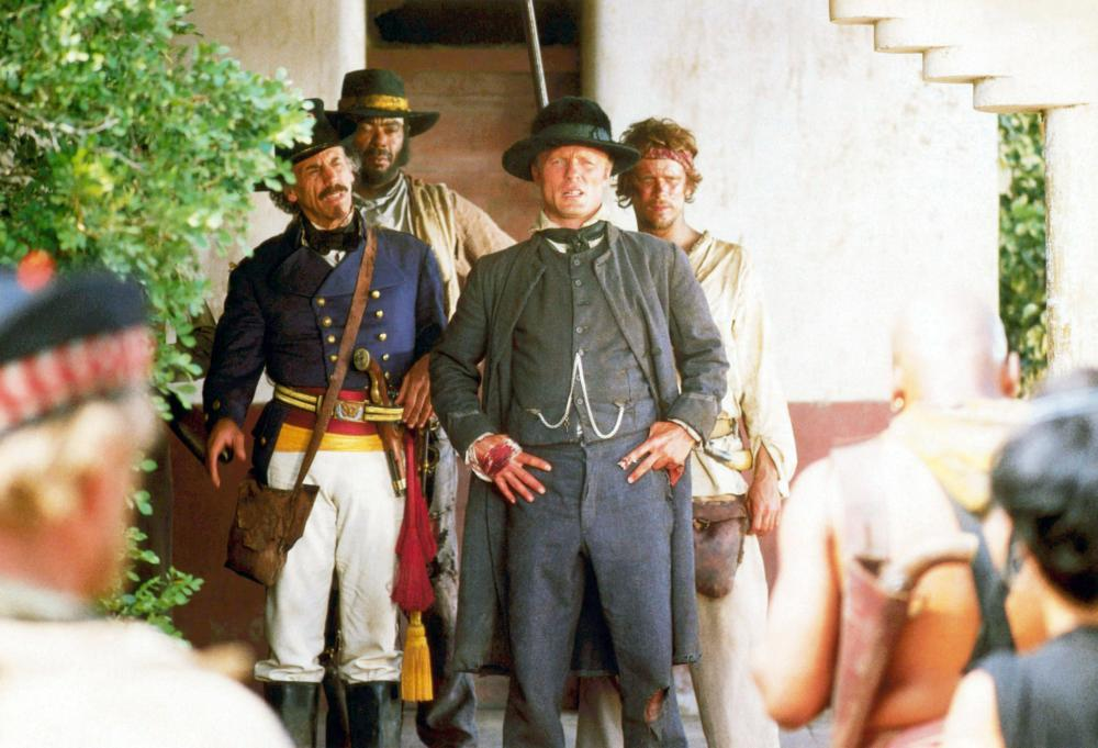 WALKER, Alfonso Arau (left), Ed Harris (center), 1987, (c) Universal