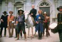 WALKER, J.D. Sylvester (holding reins), Ed Harris (horseback), Rene Auberjonios (arm in sling), 1987, (c) Universal