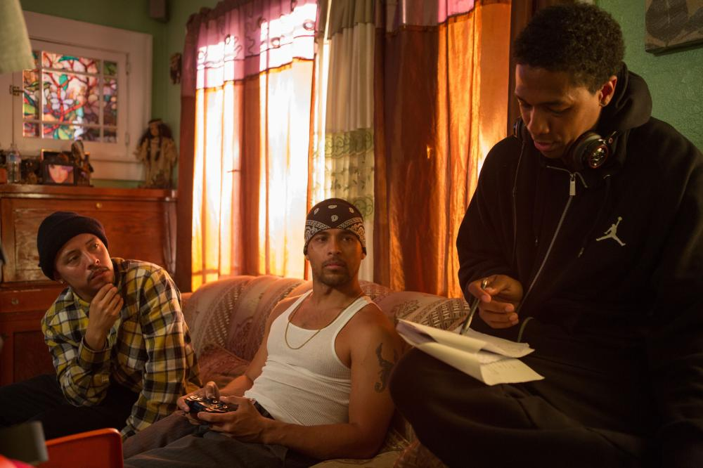 SCHOOL DANCE, from left: Efren Ramirez, Wilmer Valderrama, director Nick Cannon, on set, 2014. ph: Matt Kennedy/©Lionsgate