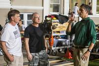 WHEN THE GAME STANDS TALL, from left: coach Bob Ladouceur, producer David Zelon, Jim Caviezel, on set, 2014. ph: Tracy Bennett/©TriStar Pictures