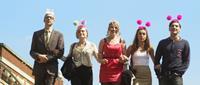 LOVE ME TILL MONDAY, from left: Tim Plester, Sarah Barratt, Sarah-Jayne Butler, Georgia Maguire, Christopher Leveaux, 2013. ©Verve Films