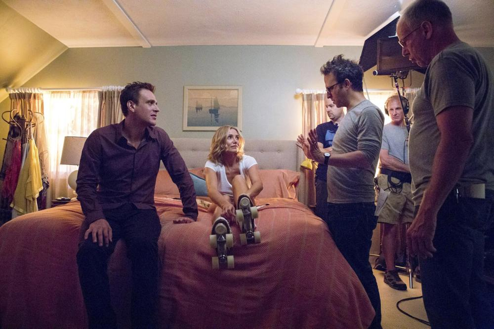 Sex Tape, Cameron Diaz (L), Jason Segel (C), Jake Kasdan (R), 2014. ph: Claire Folger/©Columbia Pictures