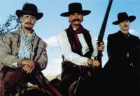 TOMBSTONE, from left, Jason Priestley, Kurt Russell, Val Kilmer, 1993, ©Buena Vista Pictures