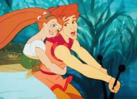 THUMBELINA, from left, Thumbelina, voiced by Jodi Benson, Cornelius, voiced by Gary Imhoff, 1994, ©Warner Bros.