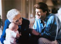 THREE MEN AND A BABY, from left: Lisa/Michelle Blair, Celeste Holm, Ted Danson, 1987, © Buena Vista
