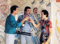 THREE MEN AND A BABY, from left: Ted Danson, Tom Selleck, Steve Guttenberg, 1987, © Buena Vista