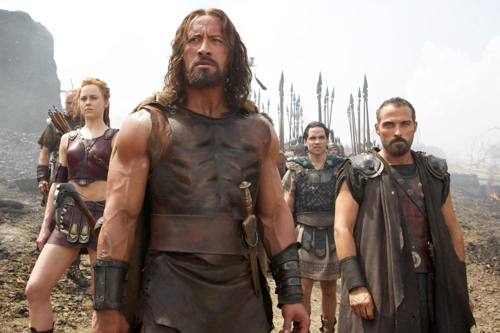 HERCULES, from left: Ingrid Bolso Berdal, Dwayne Johnson as Hercules, Reece Ritchie, Rufus Sewell, 2014. ph: Kerry Brown/©Paramount Pictures