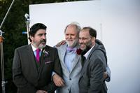 LOVE IS STRANGE, from left: Alfred Molina, John Lithgow, director Ira Sachs, on set, 2014. ph: Clay Enos/©Sony Pictures Classics