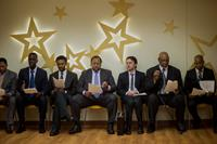 WISH I WAS HERE, Ato Essandoh (left, blue tie), Leslie David Baker (center, blue tie), Zach Braff (right of center), James Avery (second from right), 2014. ph: Merie Weismiller Wallace/©Focus Features