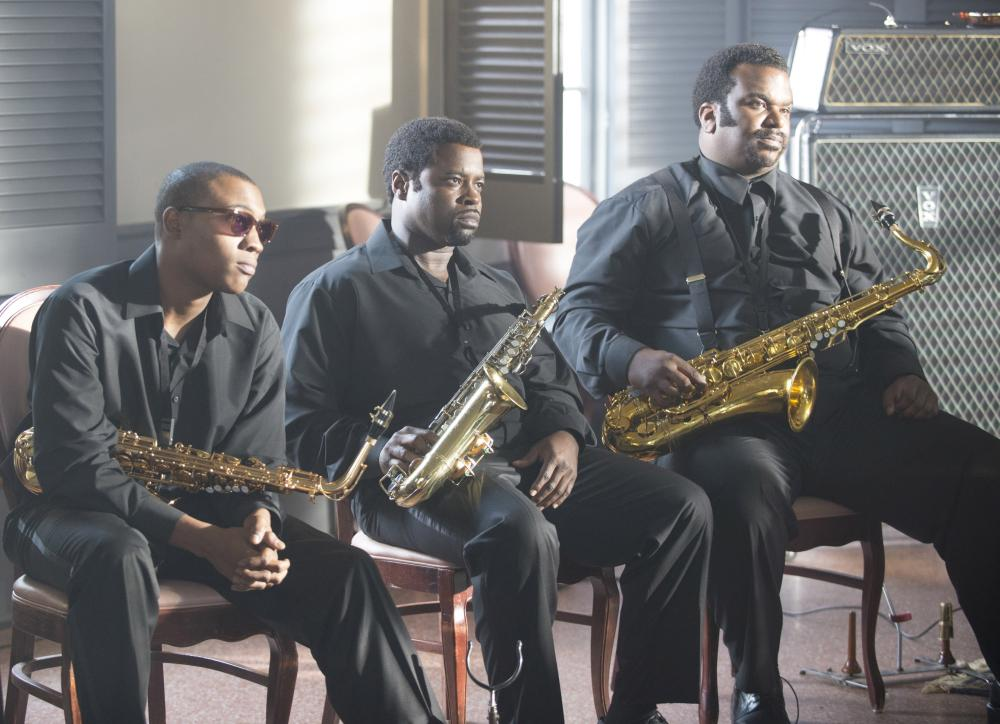 GET ON UP, center: Tariq Trotter, right: Craig Robinson, 2014. ph: D Stevens/©Universal Pictures