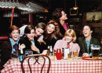 ST. ELMO'S FIRE, from left, Ally Sheedy, Judd Nelson, Emilio Estevez, Demi Moore, Mare Winningham, Rob Lowe, Andrew McCarthy, 1985, ©Columbia Pictures