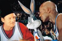 SPACE JAM, from left: Bill Murray, Bugs Bunny, Michael Jordan, 1996, © Warner Brothers