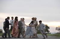THE HUNDRED-FOOT JOURNEY, Juhi Chawla (left, sari), Helen Mirren (with bottle), Om Puri (gray hair, right), 2014. ph: Francois Duhamel/©Walt Disney Studios Motion Pictures