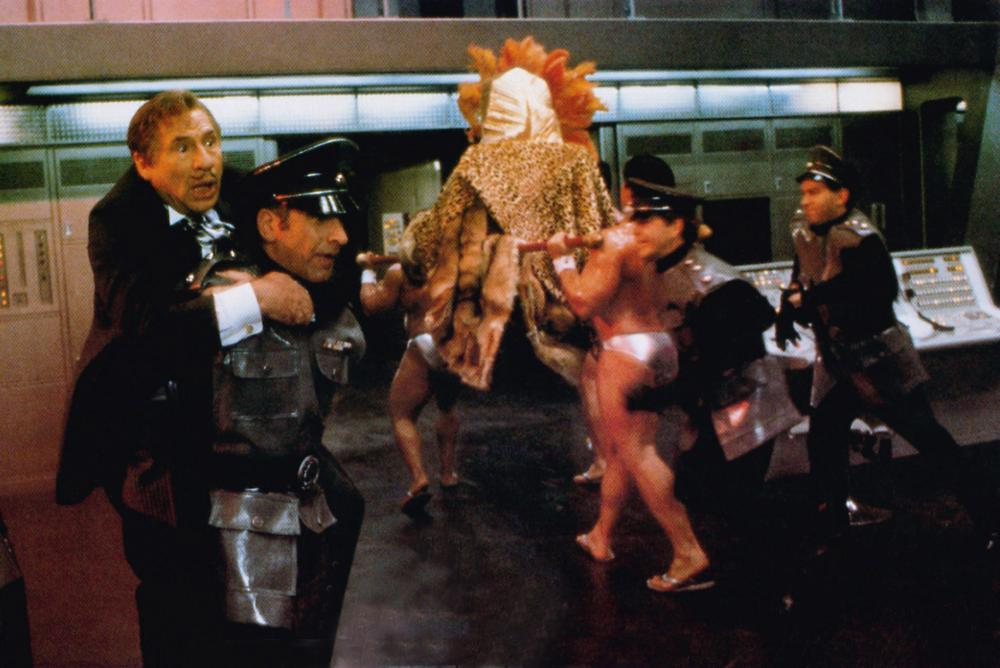 SPACEBALLS, front from left: Mel Brooks, George Wyner, 1987, © MGM