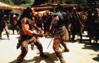 THE SCORPION KING, front from left: Dwayne Johnson (aka The Rock), Michael Clarke Duncan, 2002, © Universal