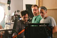 ROSEWATER, front, from left: Gael Garcia Bernal, Jon Stewart, on set, 2014. ©Open Road Films